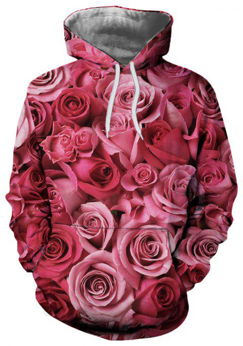 Fashion Casual 3D Printed Hooded Sweater Rose Pattern - multicolor L