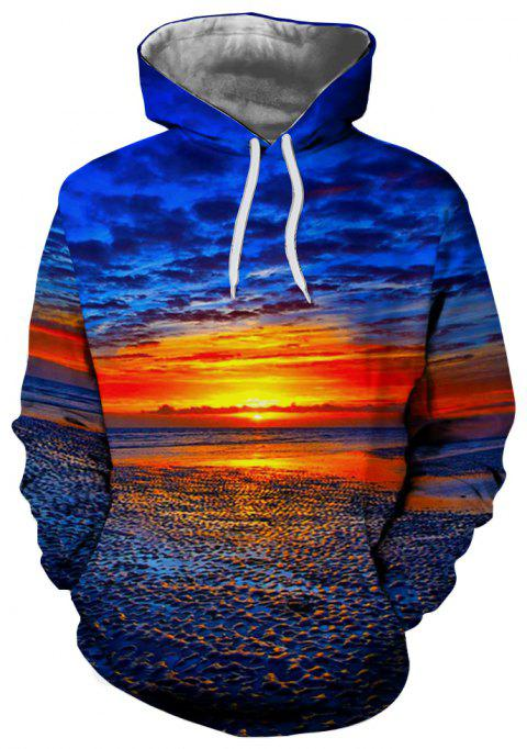 Fashion Men's 3D Printed Seaside Sunrise Pattern Hooded Sweater - BLUEBERRY BLUE M