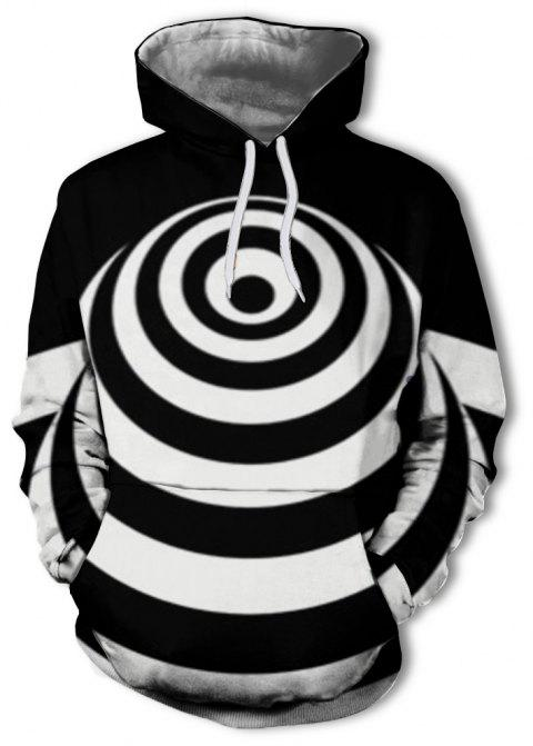 Casual Men's 3D Print Black and White Fashion Hoodie - multicolor A 3XL