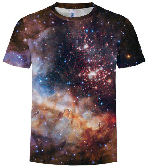 Summer Fashion Men's Round Neck Pullover Short Sleeve Print T-Shirt - multicolor D 3XL