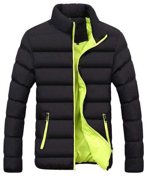 New Men's Casual Solid Color Stand Collar Cotton Coat - GREEN YELLOW 3XL
