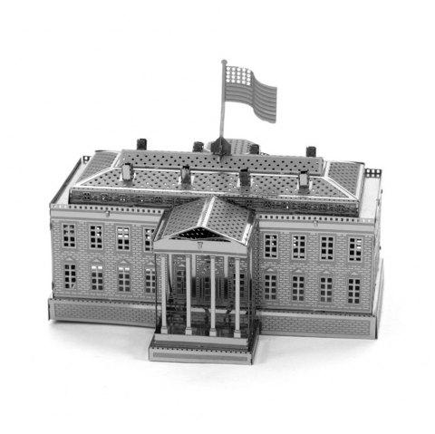 White House 3D Metal High-quality DIY Laser Cut Puzzles Jigsaw Model Toy - SILVER
