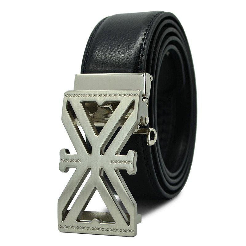 Men's Belt Fashion X Word Alloy Automatic Buckle Business Casual Belt Accessory