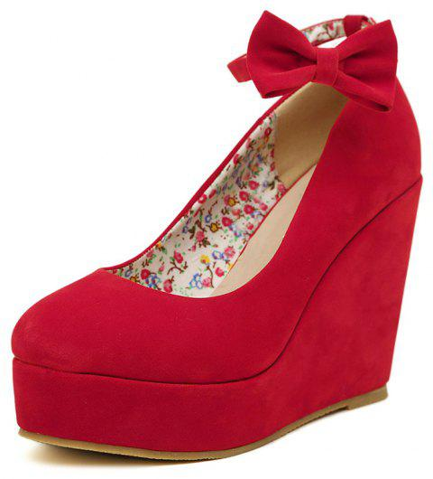 Women's Round Toe Wedge Shoes Sweet High Heels with Bow - RED EU 35