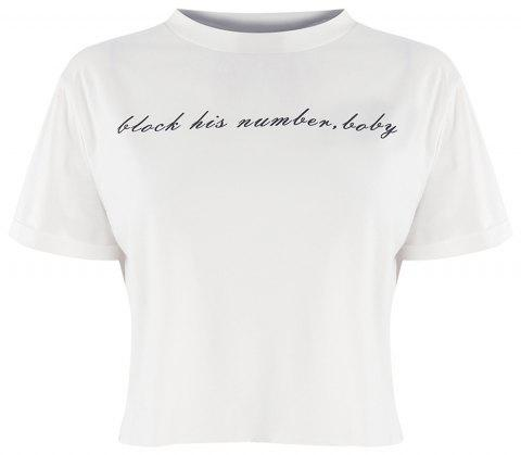 HAODUOYI Women's Fashion Simple and Versatile College Wind T-Shirt White - WHITE 2XL