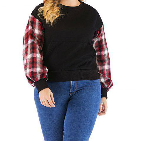 Long Sleeve Plaid Sleeve Vest - BLACK L