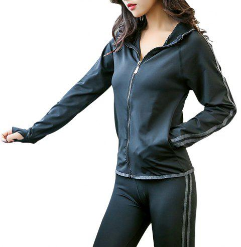 Slim Yoga Wear Gym Running Veste de sport à manches longues - Gris 2XL