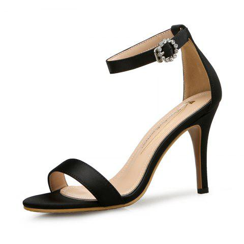 Lace-Up High Heel Sandals Female Stiletto Sexy Open Toe Bow Tie Band - BLACK EU 37