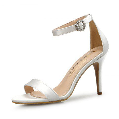 Lace-Up High Heel Sandals Female Stiletto Sexy Open Toe Bow Tie Band - WHITE EU 37