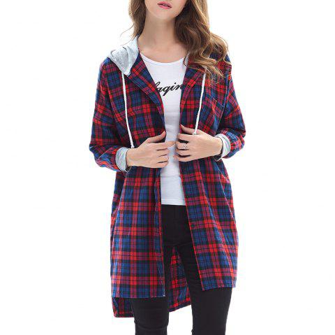 Women's Plaid Color Hooded Long Sleeve Shirt - RED ONE SIZE