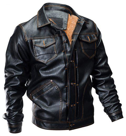 Winter Men's Casual Pu Leather Multi-Pocket Turn-Down Leather Jacket - BLACK XL