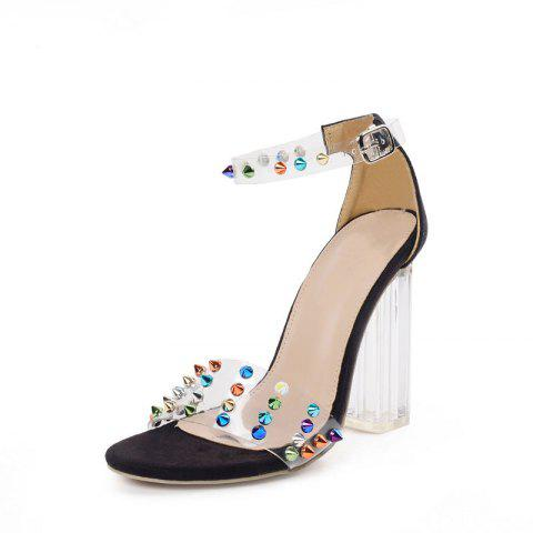 bb2350fd5 2019 Women s Stiletto Sandals Sexy Party Shoes with Rivets In BLACK ...