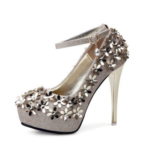 Women's Round Toe Platform Shoes Fashion Party Shoes with Sequined - GOLD EU 34