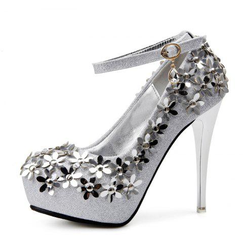 Women's Round Toe Platform Shoes Fashion Party Shoes with Sequined - SILVER EU 37