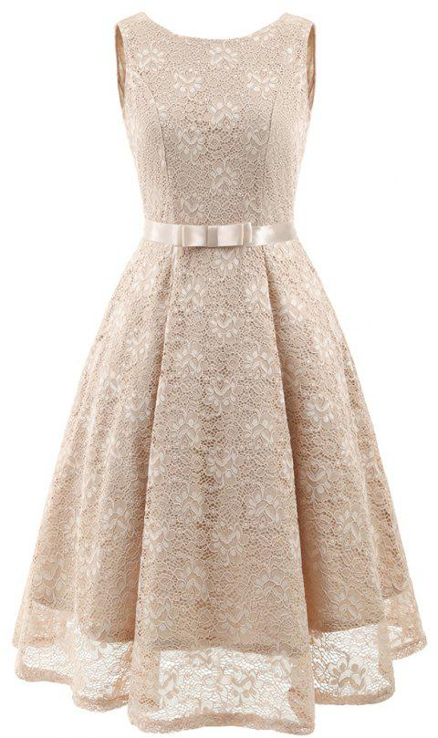 Autumn and Winter Women'S Dress Bow Lace Sexy Big Dress - CHAMPAGNE XL
