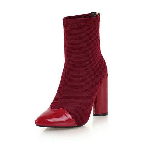 f3fc5dd371b European and American Pointed Thick High Heel Fashion Elastic Boots - RED  WINE EU 36