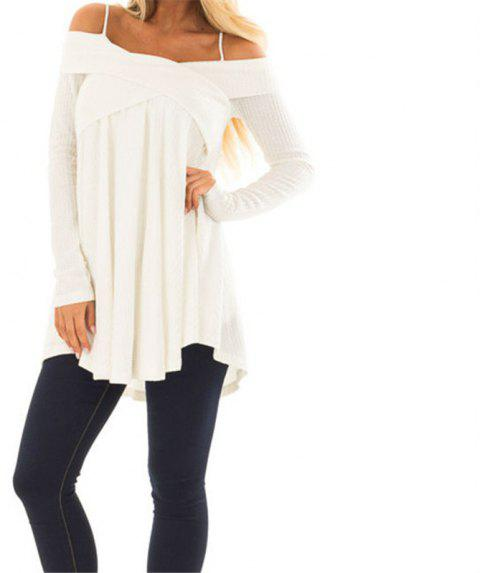 Straps with Long Sleeves Crossed Collar Tops - MILK WHITE M