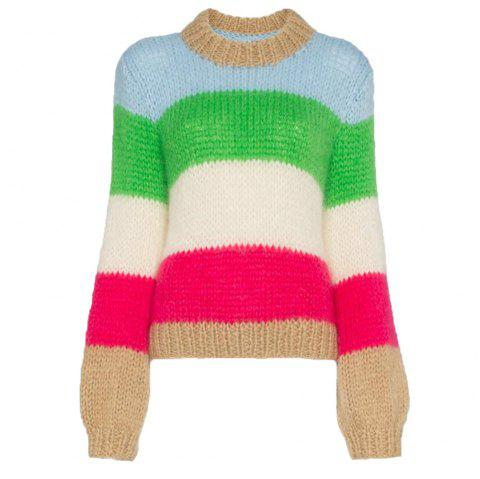 aae0b2154db Women s Wide Striped Long-Sleeved Round Collar Fashion Sweater - multicolor  A ONE SIZE