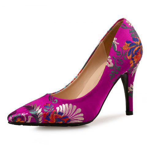 Printed Pointed High Heels Satin Chinese Cheongsam Women'S Shoes - ROSE RED EU 34