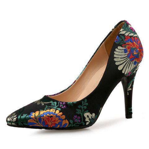 Printed Pointed High Heels Satin Chinese Cheongsam Women'S Shoes - BLACK EU 37