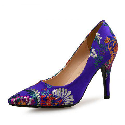 Printed Pointed High Heels Satin Chinese Cheongsam Women'S Shoes - BLUE EU 34