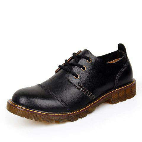 Men Leather Wear-Resistant Tooling Shoes - BLACK EU 43