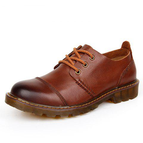 Men Leather Wear-Resistant Tooling Shoes - BROWN EU 42