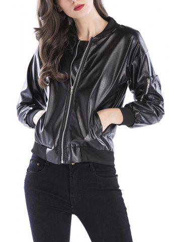 de24bef5a28 Cool Ladies Zipper Collar Black Leather Fashion Jacket