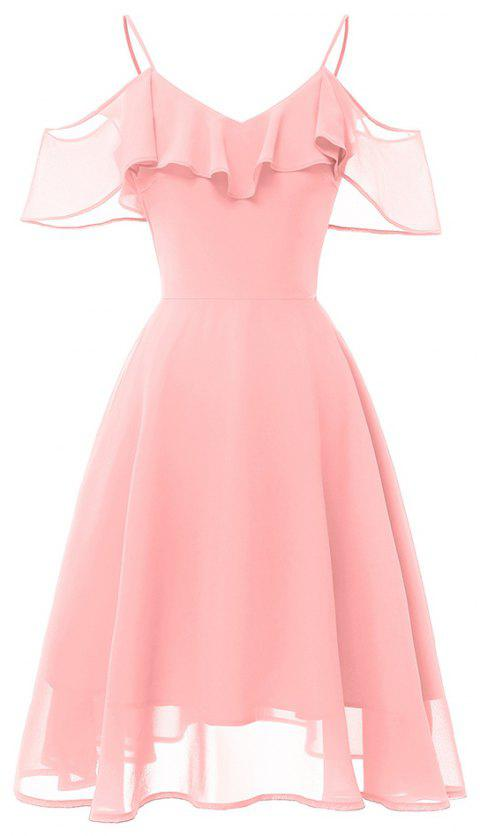 22f8511c0a5f 2019 Word Shoulder Strap Chiffon Elegant Party Fairy Dress In PIG ...
