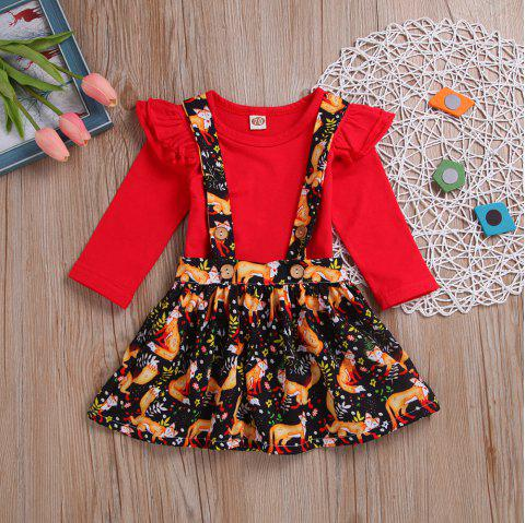 Overseas Hot New Products Long Sleeved Red Blouse and Fox Printed Apron Skirt T - RED S