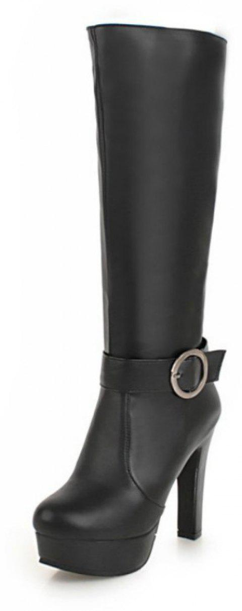 Fashion Round Head Waterproof Table with High Heel Sexy High Boots - BLACK EU 39