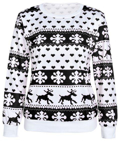 2018 New Deer Print Christmas Sweatshirt - BLACK M