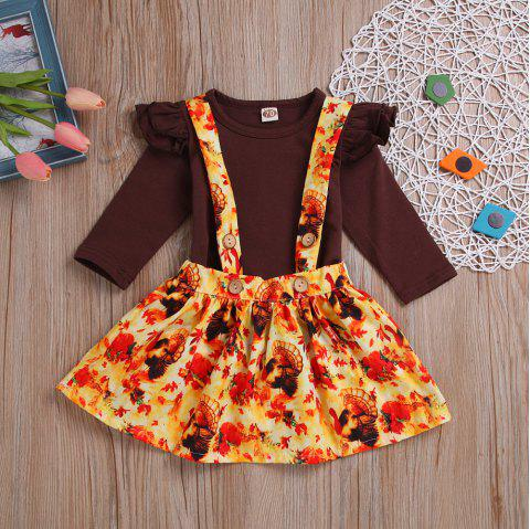 New Brown Sleeve Shirt Plus Easter Print Sling Skirt Two Pieces - BROWN M