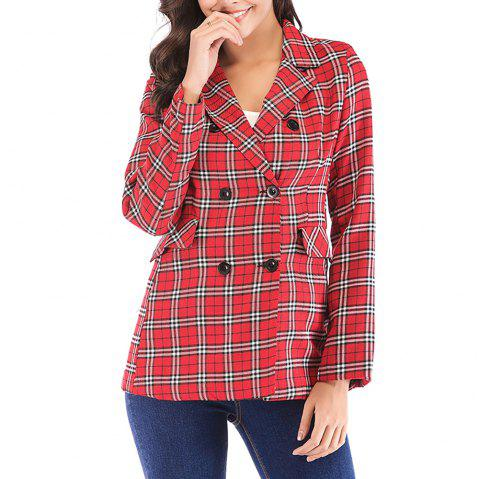 Women'S Blazer Plaid Pattern Double Breasted Notched Collar Blazer - LAVA RED L