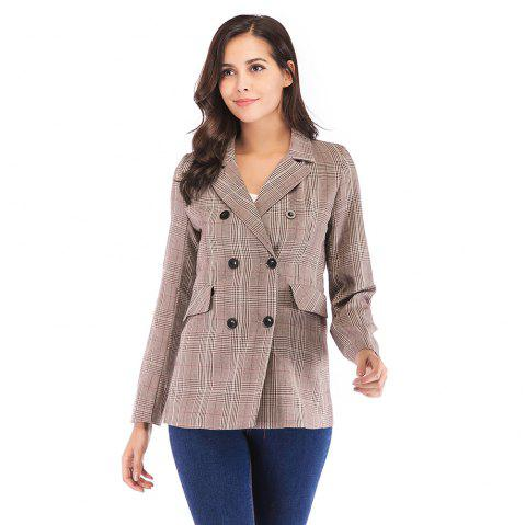 Women'S Blazer Plaid Pattern Double Breasted Notched Collar Blazer - APRICOT S
