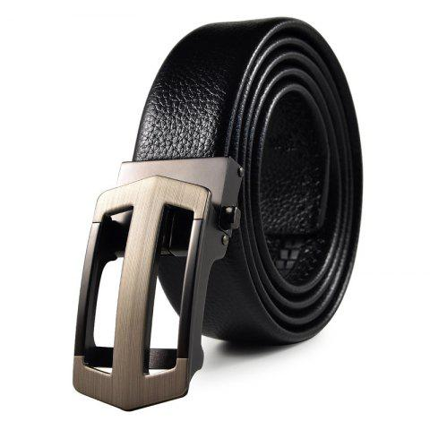 Men's Belt Hollow Out Automatic Buckle Business Casual Belt Accessory - BLACK 120 CM
