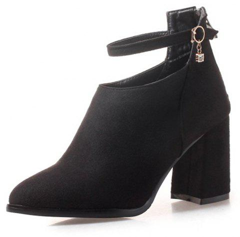 3ae352e22 Pointy Head with High Heel Sexy Hollow Lady'S Short Boots - BLACK EU 37