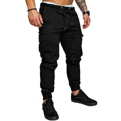 Men's Fashion Casual Sport Pants Collapse Tie Their Burdens Tight Trousers - BLACK M