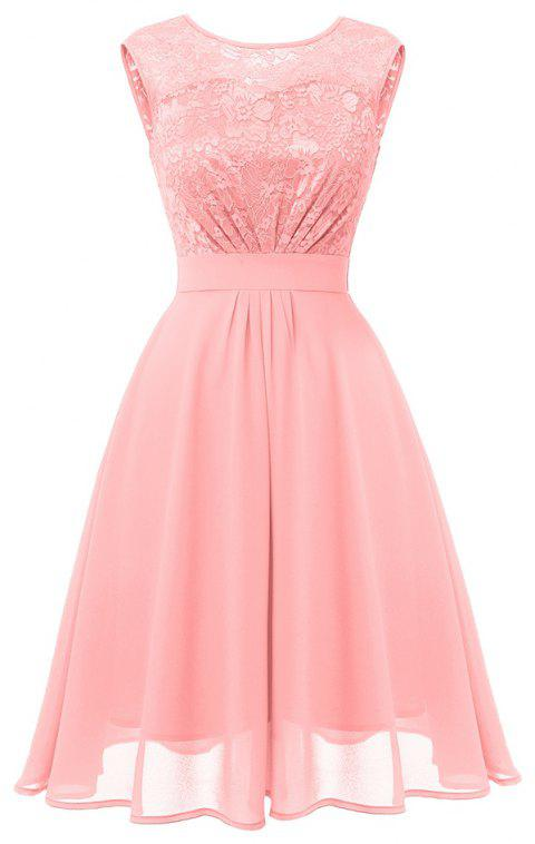 Ladies Autumn and Winter Temperament Thin Sweet Solid Color Hollow Sexy Dress - PINK S