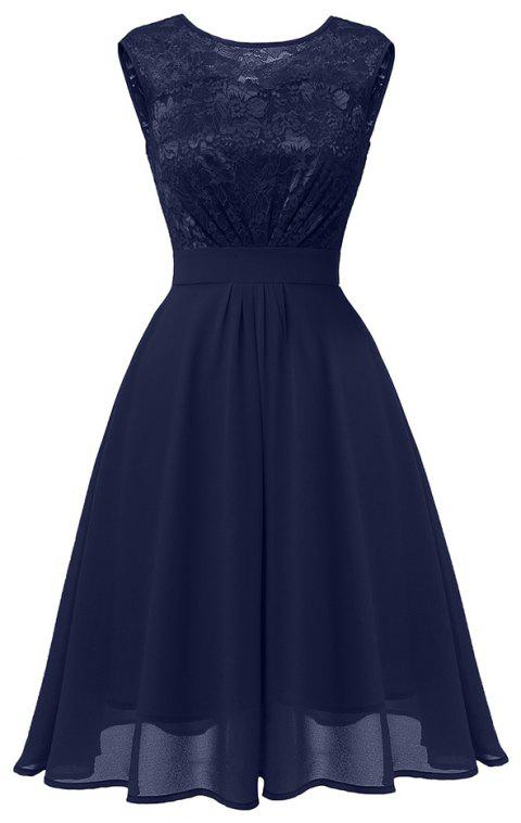 Ladies Autumn and Winter Temperament Thin Sweet Solid Color Hollow Sexy Dress - LAPIS BLUE 2XL