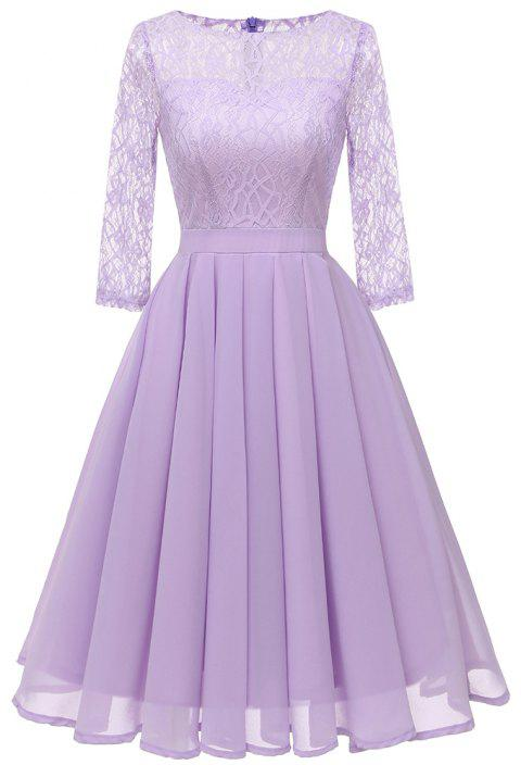 Ladies Temperament Thin Sweet Solid Color Dress Party Dress - LAVENDER BLUE S