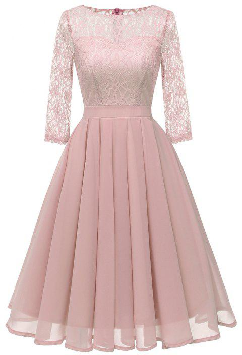 Ladies Temperament Thin Sweet Solid Color Dress Party Dress - PIG PINK L