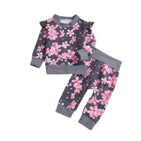 Autumn and Winter Hot Money High Quality Plum Blossom Thickening Sweater Two Pie - GRAY XL