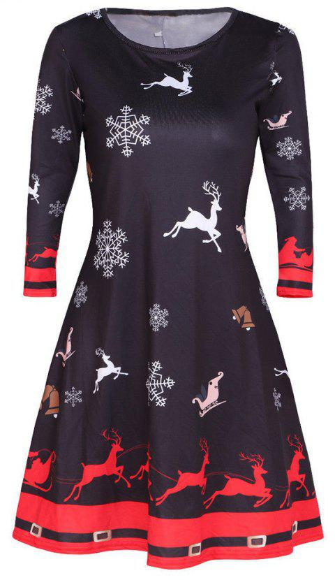 Christmas Multicolor Printed Elk Long Sleeve Dress - NIGHT L