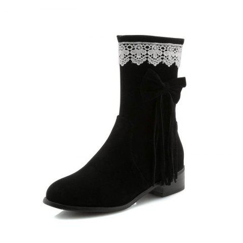 Round Head Rough with Mid Fashion Bow Tie Fringed Boots - BLACK EU 34