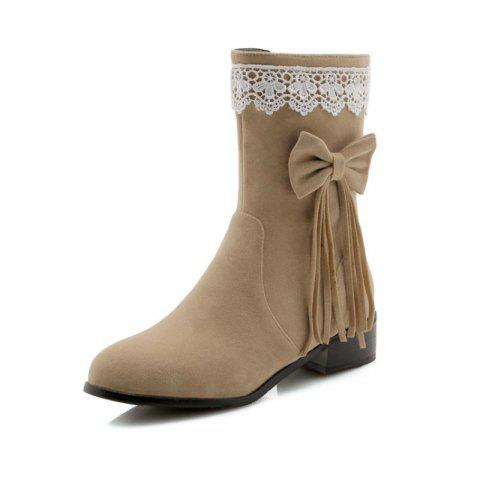 Round Head Rough with Mid Fashion Bow Tie Fringed Boots - APRICOT EU 34