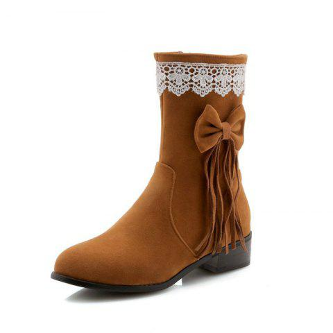 Round Head Rough with Mid Fashion Bow Tie Fringed Boots - BROWN EU 37