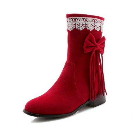 Round Head Rough with Mid Fashion Bow Tie Fringed Boots - RED EU 36