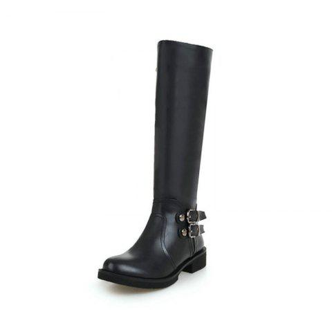 Round Head Thick with Low-Heeled European and American Fashion High Boots - BLACK EU 35