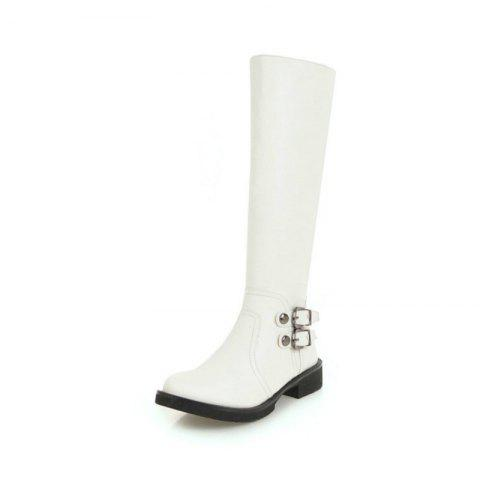 Round Head Thick with Low-Heeled European and American Fashion High Boots - WHITE EU 34
